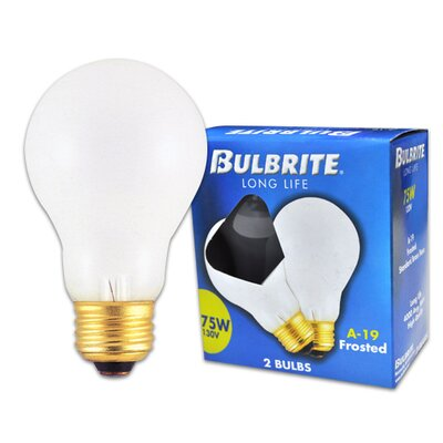 Bulbrite Industries 75W Long Life General Service Standard A19 Incandescent Bulb in Frost (Pack of 2)