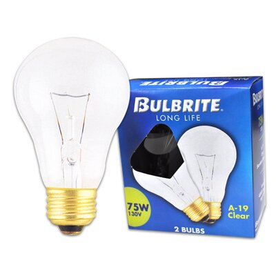Bulbrite Industries 75W Long Life General Service Standard A19 Incandescent Bulb in Clear (Pack of 2)