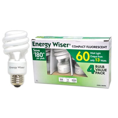Bulbrite Industries Energy Wiser Compact Fluorescent Bulb in Cool White (Pack of 4)
