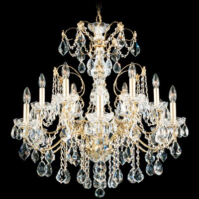 Schonbek Century 12 Light Chandelier with Handcut Crystal