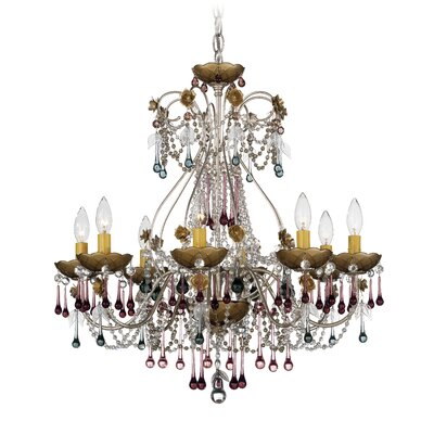 The Rose Vintage 8 Light Chandelier with Crystal