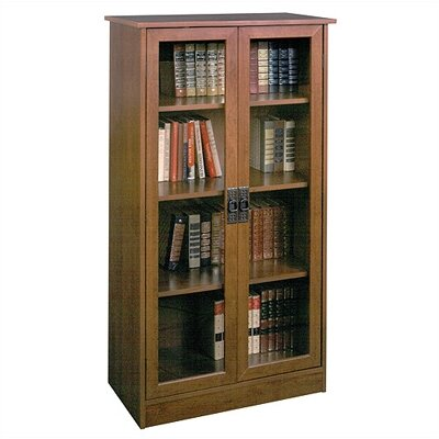 "Ameriwood Industries Carina 53"" H Four Shelf Bookcase with Glass Doors in Inspired Cherry"