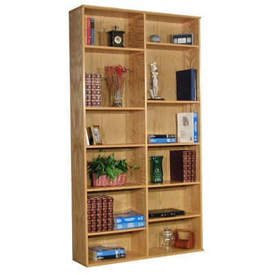 "Rush Furniture Heirloom 85.5"" H Double Bookcase in Oak Veneer"