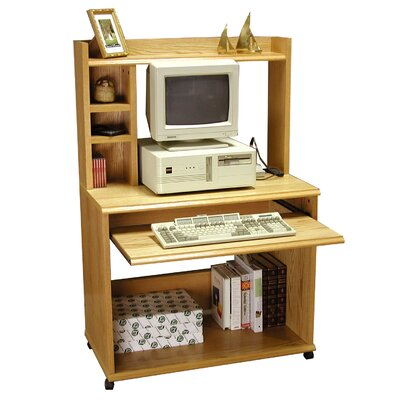 "Rush Furniture Heirloom 36"" W Computer Cart with Hutch in Oak Veneer"