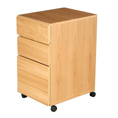 Modular Real Oak Wood Veneer Three-Drawer Mobile File Cabinet