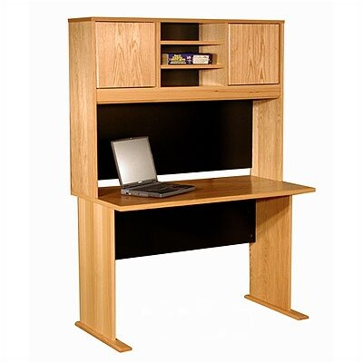 "Rush Furniture Modular Real Oak Wood Veneer 48"" W Panel Office Computer Desk Suite"