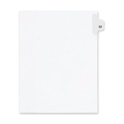 Kleer-Fax, Inc. Index Dividers,Number 52,Side Tab,1/25 Cut,Letter,25/PK,WE