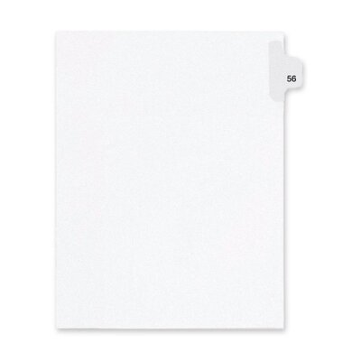 Kleer-Fax, Inc. Index Dividers,Number 56,Side Tab,1/25 Cut,Letter,25/PK,WE