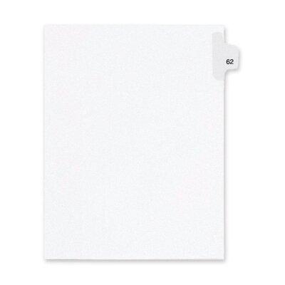 Kleer-Fax, Inc. Index Dividers,Number 62,Side Tab,1/25 Cut,Letter,25/PK,WE