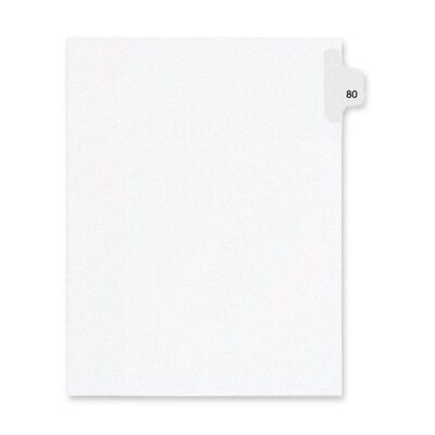 Kleer-Fax, Inc. Index Dividers,Number 80,Side Tab,1/25 Cut,Letter,25/PK,WE