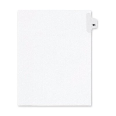 Kleer-Fax, Inc. Index Dividers,Number 96,Side Tab,1/25 Cut,Letter,25/PK,WE