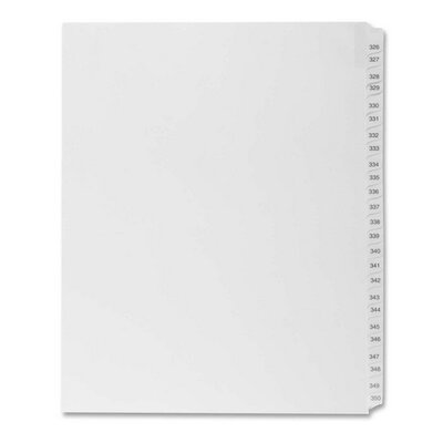 "Kleer-Fax, Inc. Index Dividers,""Exhibit 326-350"",Side Tabs,1/25 Cut,25/PK,WE"