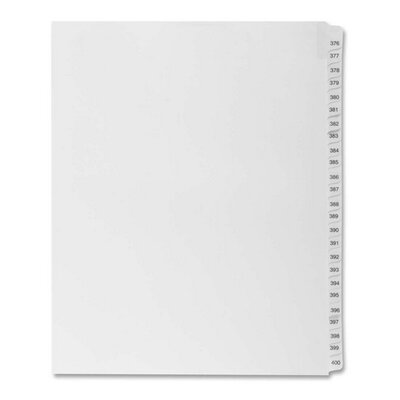 "Kleer-Fax, Inc. Index Dividers,""Exhibit 376-400"",Side Tabs,1/25 Cut,25/PK,WE"