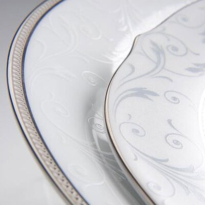 Noritake Regina Platinum Handled Hostess Round Serving Tray