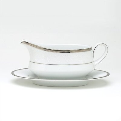 Noritake Regina Platinum 13 oz. Gravy Dish with Tray