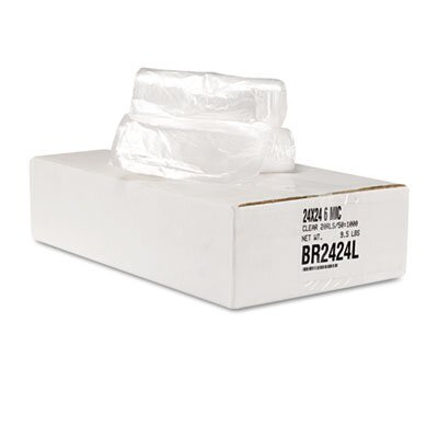 Essex® Can Liner Hi-D Rolls, 24 x 24, 20 Rolls, 1000/Carton, Clear
