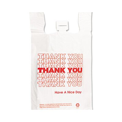 Barnes Paper Company Plastic Thank You T-Sack in White
