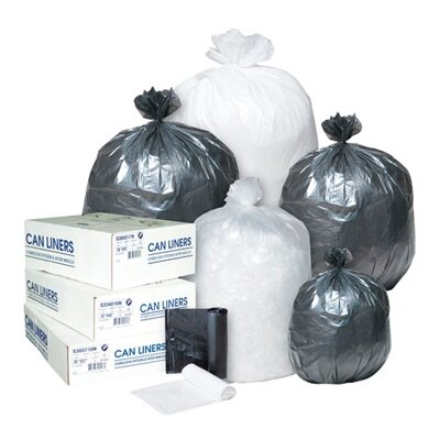 Inteplast Group 10 Gallon High Density Can Liner, 6 Micron in Black