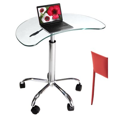 RTA Home And Office Laptop Stand with Casters in Clear Glass