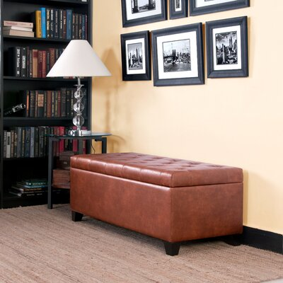 Handy Living Tufted Bench Renu Leather Storage Ottoman