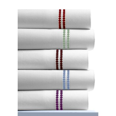 Tribeca Living 400 Thread Count Dot Embroidered Cotton Deep Pocket Sheet Set