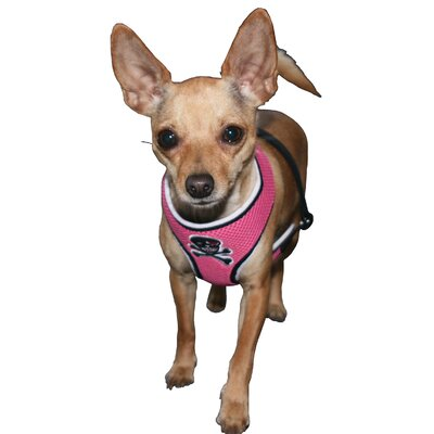 Hip Doggie Skull Mesh Dog Harness Vest in Pink
