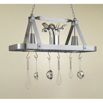 Hi-Lite Sterling Rectangular Hanging Pot Rack with 2 Lights
