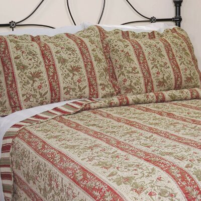 J&J Bedding Cary Floral Stripe Quilt Collection