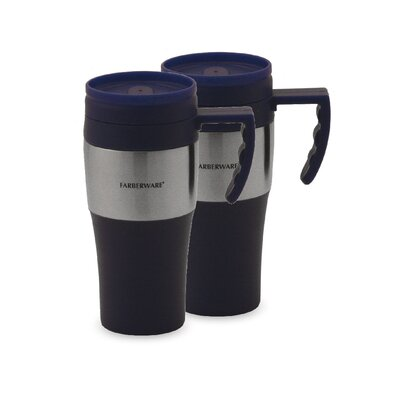Travel Mug with Stainless Steel Accents in Blue (Set of 2)