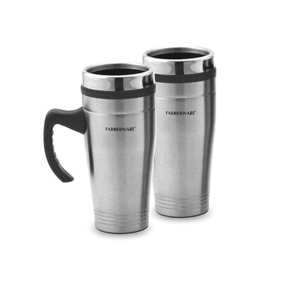 Travel Mug with Handle in Stainless Steel (Set of 2)