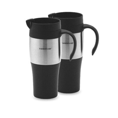 Plastic Travel Mug in Stainless Steel (Set of 2)