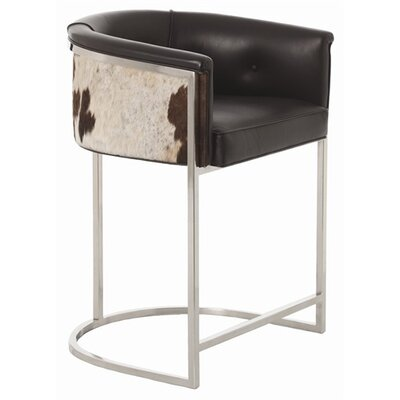 ARTERIORS Home Calvin Top Grainwith Hide Polished Nickel Low Barstool
