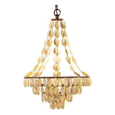 Southampton 3 Light Iron / Shell Chandelier