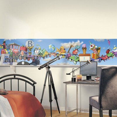 4 Walls Alphabet Train Mural Style Wallpaper Border