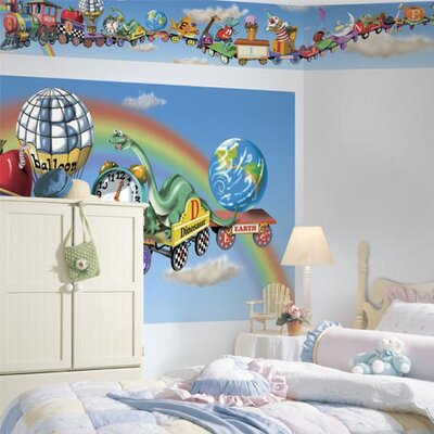 4 Walls Panoramic Mural Style Alphabet Train Mural Wallpaper Border