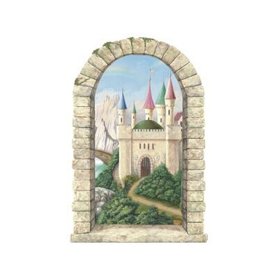 4 Walls Enchanted Kingdom Mountainview Castle Window Peel and Stick in Multi