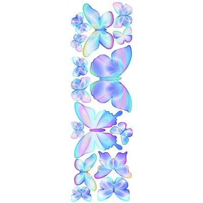 4 Walls Unique Fluttering Butterfly Accents Peel and Stick in Summertime Blue