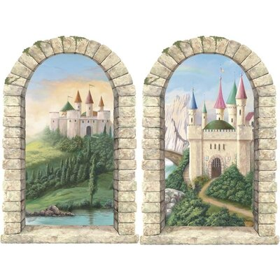 4 walls enchanted kingdom pre pasted castle windows wall for Castle wall mural