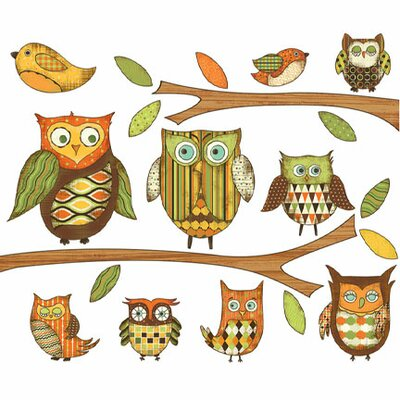 4 Walls Owls Branches Pre-Pasted Accent Mural in Orange