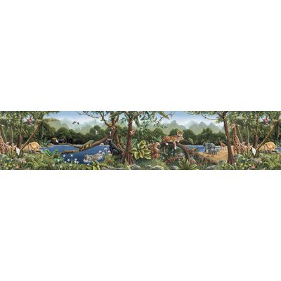4 Walls Whimisical Wall Borders Jungle Mural Style Wallpaper Border