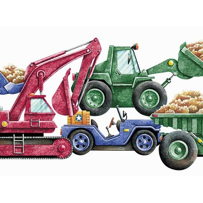 4 Walls Whimsical Children's Vol. 1 Construction Truck Die-Cut Border in Primary