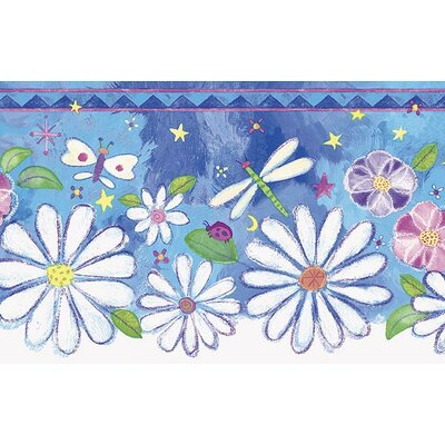 4 Walls Whimsical Children's Vol. 1 Groovy Flower Die-Cut Border in Blue