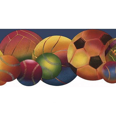 4 Walls Whimsical Children's Vol. 1 Neon Sports Balls Die-Cut Border in Navy