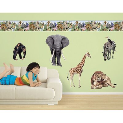 4 Walls Jungle Animals Free Style Peel and  Stick Wall Decal in Multi