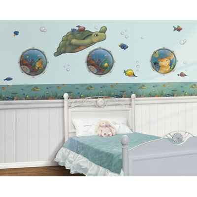 4 Walls Undersea Free Style Peel and Stick Wall Decal in Blue / Green