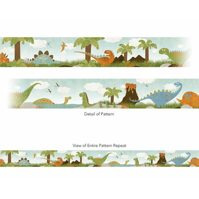 4 Walls Dino Might Free Style Border Wallpaper in Blue