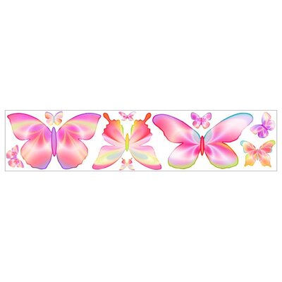4 Walls Fluttering Butterflies Freestyle Peel and Stick Decal in Pink