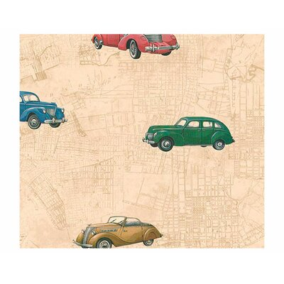 4 Walls Lodge Décor Car and Map Toss Wallpaper
