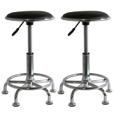 Height  Adjustable AmeriHome 2 Piece Undersized Stool with Low Profile Seat and Caster Set
