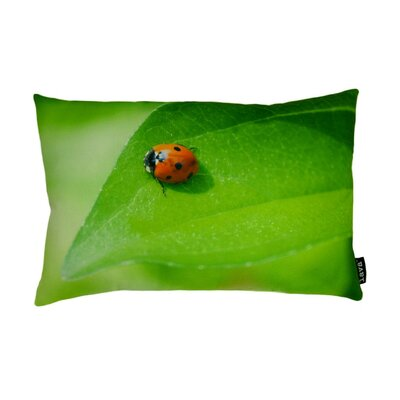 lava Ladybug on Leaf Polyester Pillow